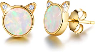 Esberry 18K Gold Plating 925 Sterling Silver Opal Cat Stud Earrings Cute Cat with Natural Stone Hypoallergenic Earrings for Women and Girls