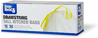 Iron-Hold Tall Kitchen Trash Bag- 13 Gallon, 30 Ct (Pack of 12), Drawstring