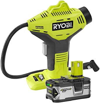 Ryobi P737 18-Volt ONE+ Cordless Power Inflator with P108 18-Volt ONE+ Lithium-Ion 4.0 Ah Lithium+ High Capacity Battery: image