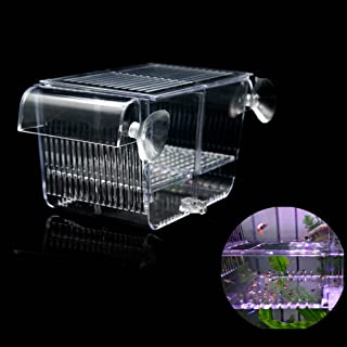 Boxtech Aquarium Fish Tank Hatchery Incubator Breeding Box, Acrylic White Breeder Isolation Divider Hatching Boxes Accessory for Small Baby Fishes Shrimp Clownfish Guppy