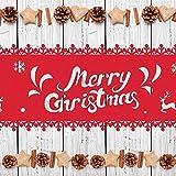 HOWAF Frohe Weihnachten Rentier Schneeflocke Tischläufer Rot Weihnachts Tischband Tischdecke für tischdeko Winter Weihnachtsdeko, Filz, (38 × 180 cm) - 5