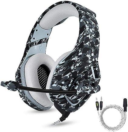 LayOPO PS4 Gaming Headset 3.5mm Camuflaje Estéreo Gaming Headphones con Cancelación de Ruido Mic Gaming Headset para Xbox One S PC PS4 Smartphones Ordenador Portátil