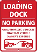 Loading Dock No Parking Unauthorized Vehicles Towed Aluminum Metal Sign 12 in x 18 in