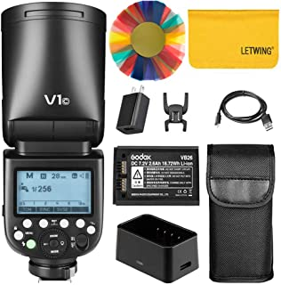 Godox V1-C 76Ws 2.4G TTL Round Head Camera Flash Speedlight Compatible for Canon,1/8000 HSS, 480 Full Power Shots,1.5 sec. Recycle Time,Rechargeable 2600mAh Li-ion Battery,10 Level Modeling Lamp