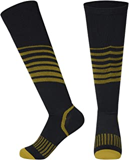 VISUNION Compression Socks for Men & Women Striped Pressure Performance Sport Stocking Good for Running,Nurses,Travel,Hiking,trotters,Medical,Jogging,Marathon,Basketball,Yoga(Yellow,S/M)