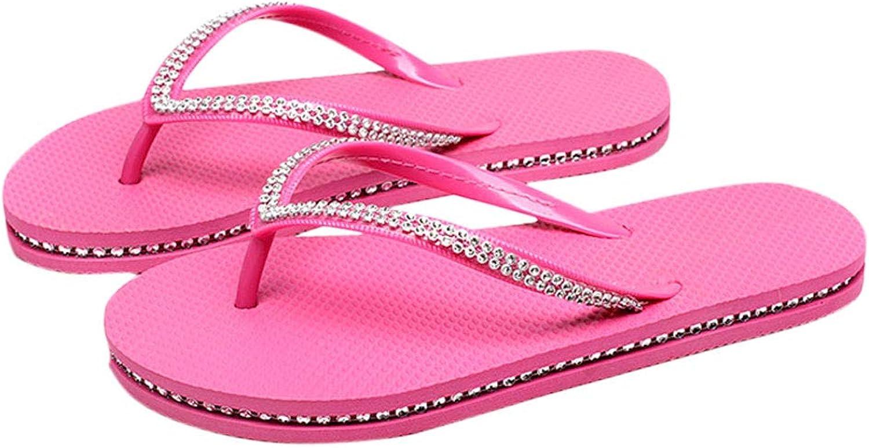 HUYP Sandals Female Summer Flip Flops Beach shoes Flat Slip Slip Feet Slippers (Size   36)