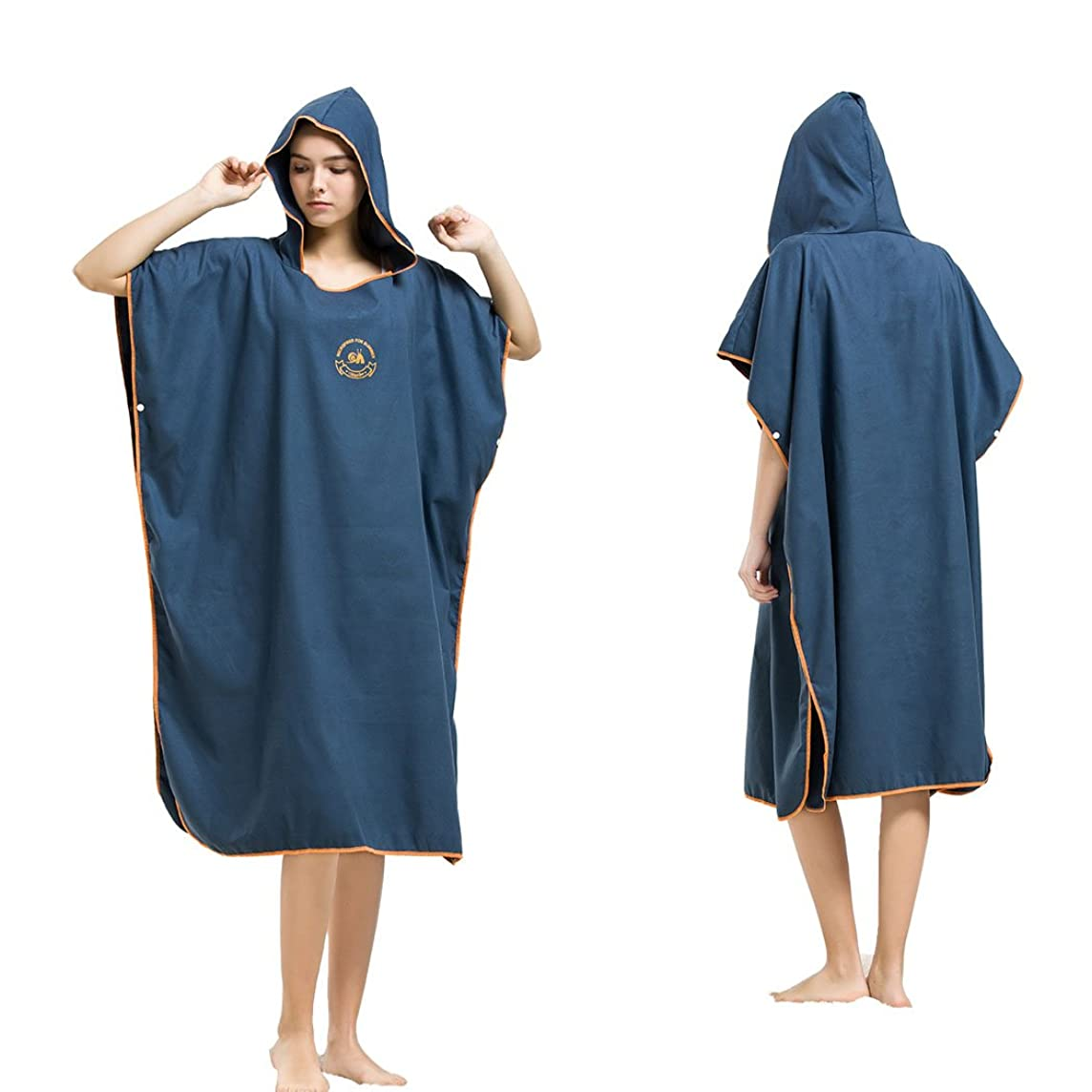Hiturbo Microfiber Surf Beach Wetsuit Changing Towel Bath Robe Poncho with Hood -One Size Fit All