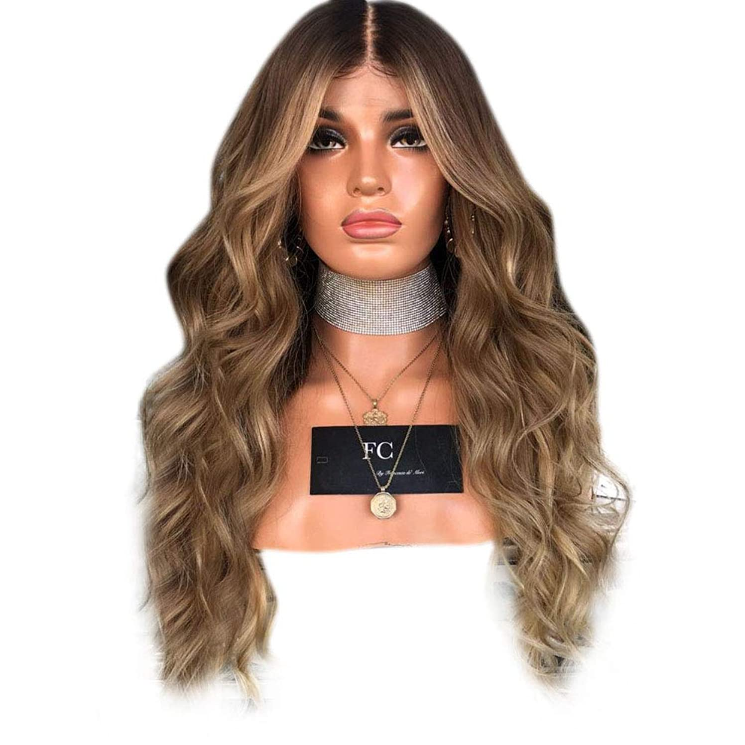 アクセス苛性サミュエルYrattary 女性の気質ライトブラウンミディアムロングカーリーヘアーマイクロロールロングストレートヘア染めウィッグ複合毛レースウィッグロールプレイングかつら (色 : 淡い茶色, サイズ : 65cm)