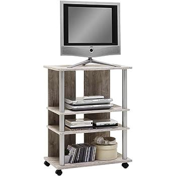 FMD Moebel 205-007 Variant 7-Mueble para televisor con Ruedas con 3 estantes y Barra de Poliamida Coloreada, Aluminio y Madera de Roble y Arena, 65 x 40 x 85 cm: Amazon.es: Hogar