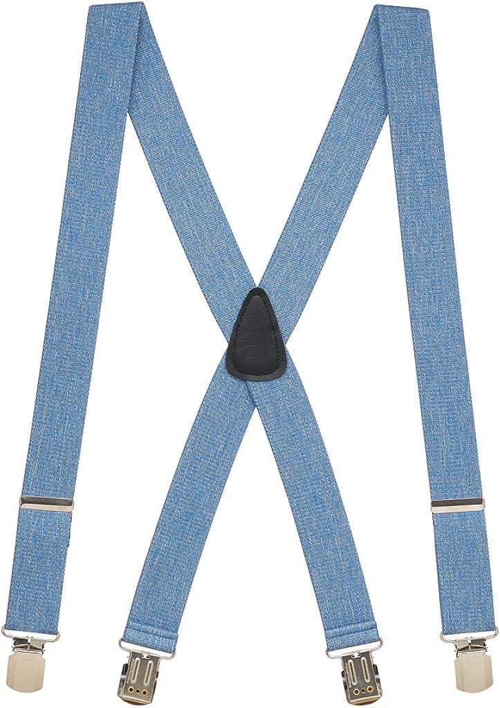 SuspenderStore Men's Denim 1.5-Inch Wide Suspenders - Small Pin Clip