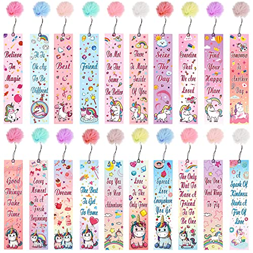 Unicorn and Rainbow Theme Bookmarks with Pom Pom Inspirational Quotes Bookmark Colorful Unicorn Bookmarks Charms Space Encouraging Page Markers for Reader Student Home School (20 Sets)