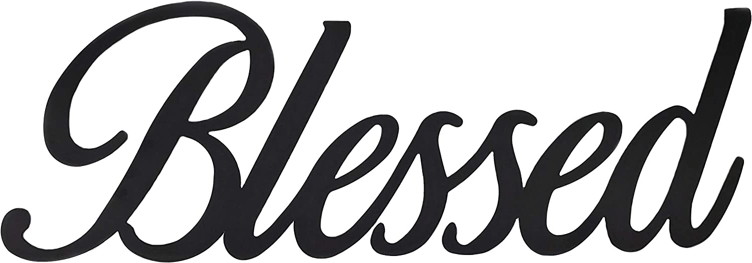 Xanter Blessed Black Metal Wall Decor, Blessed Sign (Large)