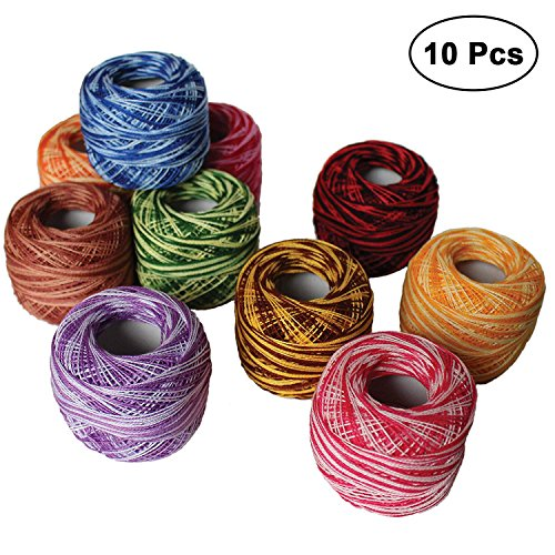 KURTZY 10 Pcs Crochet Threads size of 8-20g / 170m Cotton Crochet Thread Set Balls - Ideal for Cross Stitch, Needlepoint Hand Embroidery, Quilting Patterns, Projects and Applique - Assorted