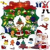 Queta Guirnalda Navidad Adornos de Fieltro, Corona Navideña con Luz LED para Decoración Navideña, Ventana, Árbol, Chimenea, Escaleras, Puerta (70x70cm, 3m led)