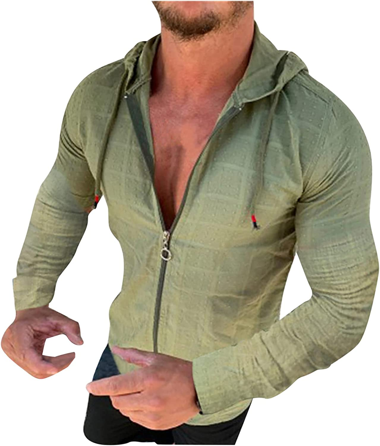 Mens Zipper Hooded Shirts for Men Cardigan Lightweight Solid Color Casual Long Sleeve Drawstring Jackets Top