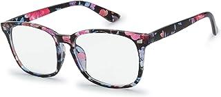 The Fresh Blue Light Blocking Gl Stylish Frame Anti Blue Ray Computer Game Glasse for Men Women (B2108 Floral Flower Print)