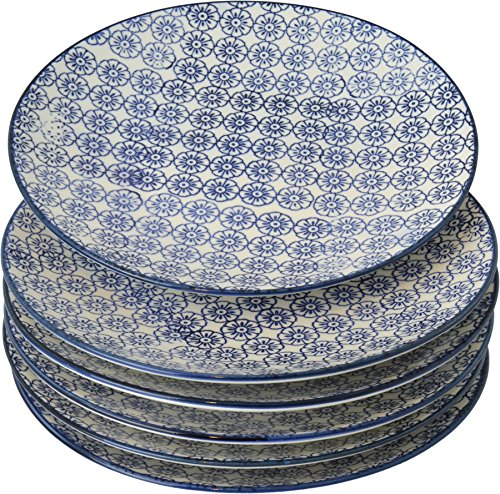 Petites assiettes à gâteau/dessert ornées de motifs - 180 mm - imprimé fleur bleue - lot de 6