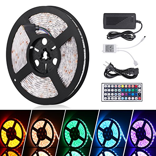 Amazon.com - RGB LED Strip Waterproof 16.4ft 300leds, 12V DC, Remote Controller and Power Supply