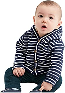 Heberry 0-24 Months Toddler Baby Boy Girls Winter Striped Windproof Hooded Coat