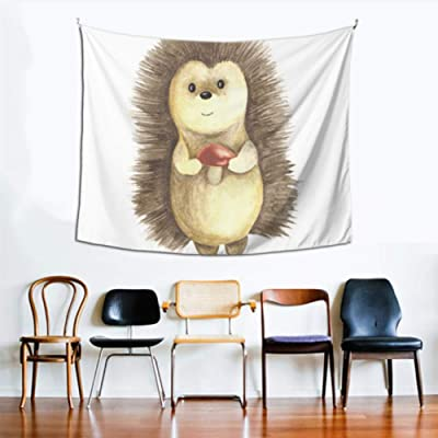Rectángulo Tapiz de pared Un lindo erizo de dibujos animados Acuarela Decoración de sala de estar de pared 60x51 pulgadas (152x130cm) Colgante de pared Arte Decoración para el hogar Poliéster para sa