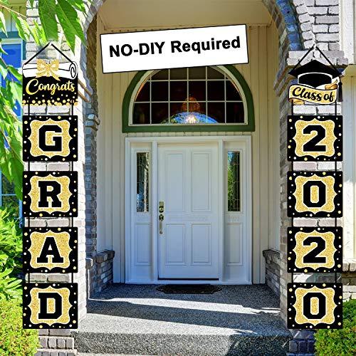 Banner de decoración de graduación clase de 2020 felicitaciones gradual fiesta porche signo de graduación suministros para la universidad secundaria (negro y dorado)