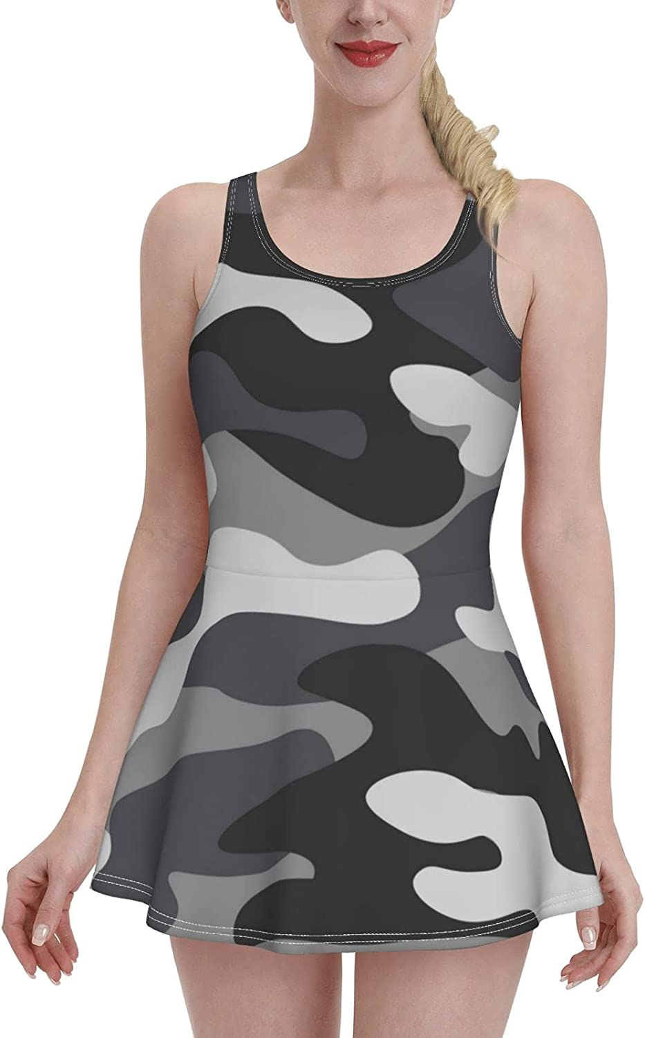 ZXZNC Black and White Camo Hunting Military Camouflage Swimdress Swimsuits for Women Tumm