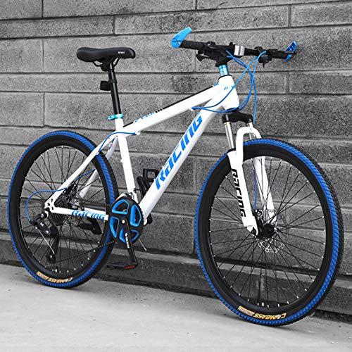 Huashao 26inch Mountain Bikes, Men's Dual Disc Brake Mountain Bike, Bicycle Adjustable Seat, High-Carbon Steel Frame,21/24/27 Speed,Spoke Tires,E,27
