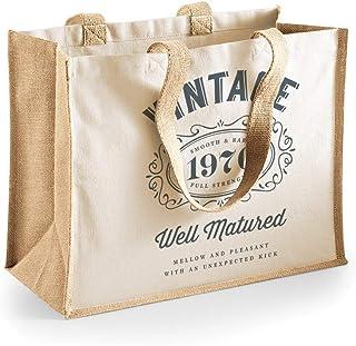 Bolsa de lona de algodón de 50 cumpleaños - Para mujer - Como regalo, recuerdo o para hacer la compra - Natural - 33 x 42 x 19cm