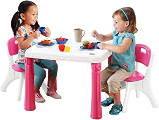 Step2 Lifestyle Kitchen Table and Chair Set Pretend Play and Dress-up Toy [Pink and White, 719600]