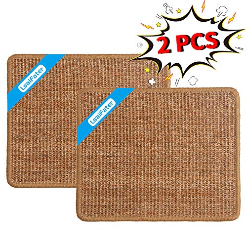 LSAIFATER 2 PCS Cat Scratching Mat Natural Sisal Mat Protect Carpets and Sofas 118x149 inch Brown