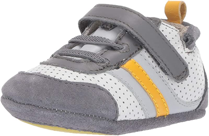 Robeez Boys Low Top Sneaker Mini Shoez Crib Shoe Grey Yellow 6 9 Months