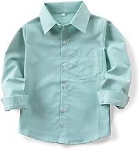 OCHENTA Little Big Boys' Long Sleeve Button Down Oxford Shirt, Kids Dress Tops