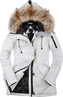 HSNW Women Winter Jacket Girls Winter Coats Ski Jacket Women White Snow Jacket Waterproof& Windproof