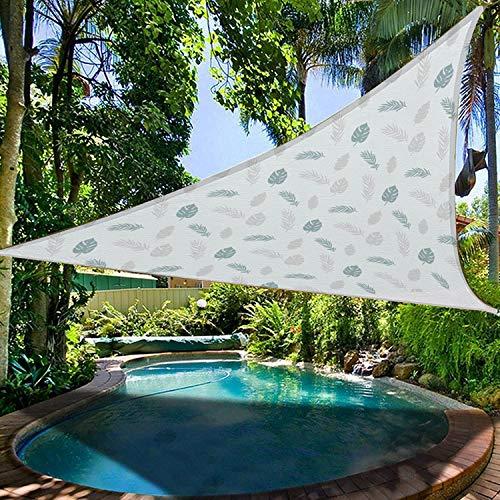 BBYOUTH Cámping Toldo Vela Impresión 3D Hojas Tropicales Tatuajes Protección UV Impermeable Varios Tamaños para Terraza al Aire Libre Jardín, Incluyendo Cuerda,3.6x3.6x3.6m