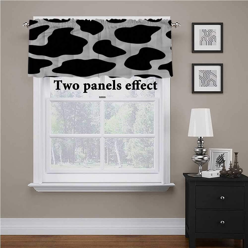送料無料 一部地域を除く shirlyhome Cow 内祝い Print Window Valences Hide Curtains Bar White