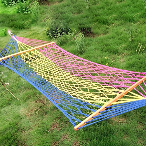 MMWYC Outdoor Indoor Hammock Nylon Rope Mesh Individual Cotton Thread Bold Net Pocket Hammock, Portable Hammock With Tree Straps For Camping Hiking Backpacking 200x110cm(78.7x43.3in)