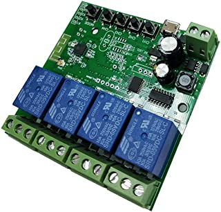 4 Channel WiFi Momentary Inching Relay Self-Locking Switch Module DC 7-32V DIY Switch Module eWelink APP Remote Control Switch Relay Module Compatible with Alexa Echo Goolge Home(Upgrade)