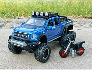 PENGJIE-Model 1:28 Ford Raptor Cross-Country Alloy Car Model Simulation of Metal Car Model Pendant Large Wheel with Shock Absorption Toy Car Model (Color : Blue)