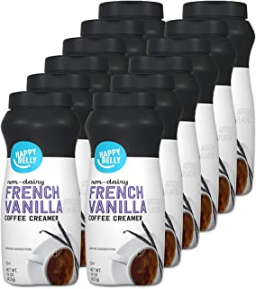 Amazon Brand - Happy Belly Powdered Non-dairy French Vanilla Coffee Creamer, 15 Ounce (Pack of 12)