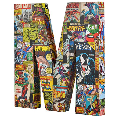 Marvel ME01M4 10 x 1 Red/Blue/Yellow Comics Wood Letter 'M'