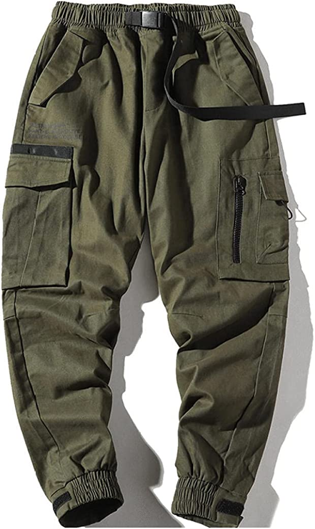 KKLLHSH Men Pants Mens Joggers with Pockets Cargo Pants Male Str