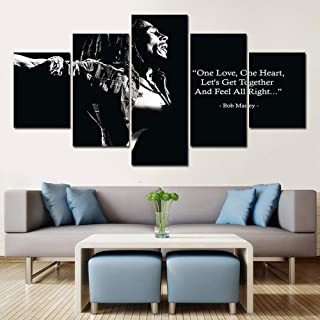 ZZXINK Decorative Painting 5 Piece HD Printed bob marley black white Painting Canvas Print Room Decor Poster Picture