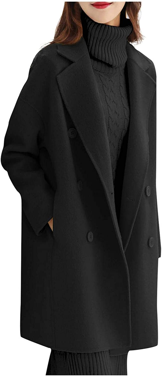 Smileyth Women's Double Breasted Long Color Vintage NEW Max 73% OFF Coat L Solid