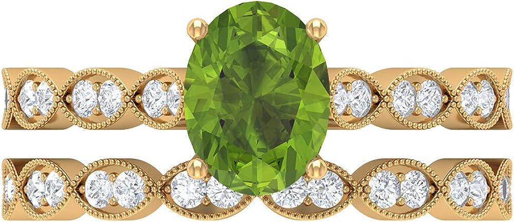 Rosec Jewels - 8X6 Oval Cut Ring mart Peridot Milwaukee Mall Lab w Created Solitaire