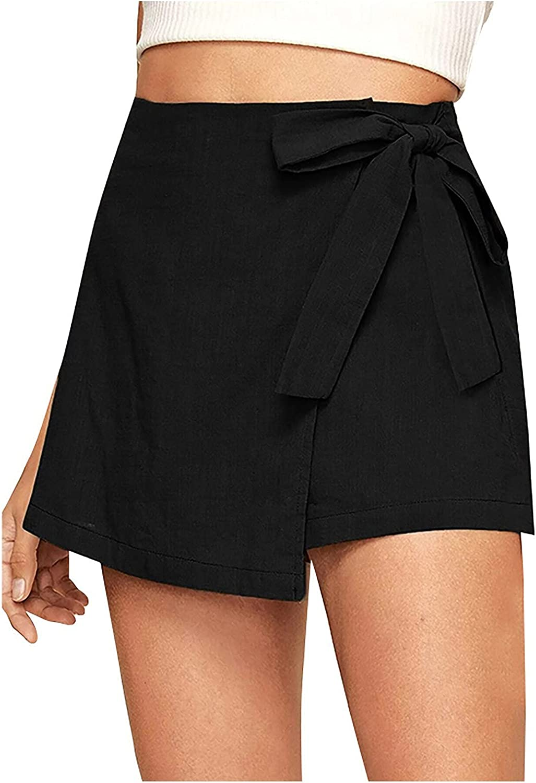 YUNDAN High Waist Finally resale start Shorts for Womens Free shipping on posting reviews Linen Soft Summer Cotton Com