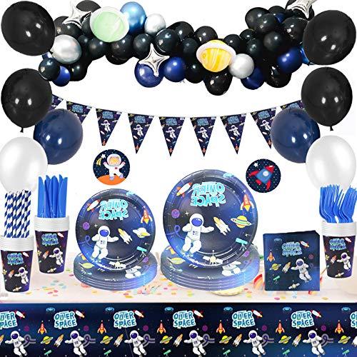 SPECOOL Artículos para Fiesta de Cumpleaños de Espacio,Vajilla para Fiestas Que Incluyen Pancartas,Globos,Platos,Tazas,Pajitas, Servilletas,Manteles,Tenedores y Cuchillos para decoración de Fiestas