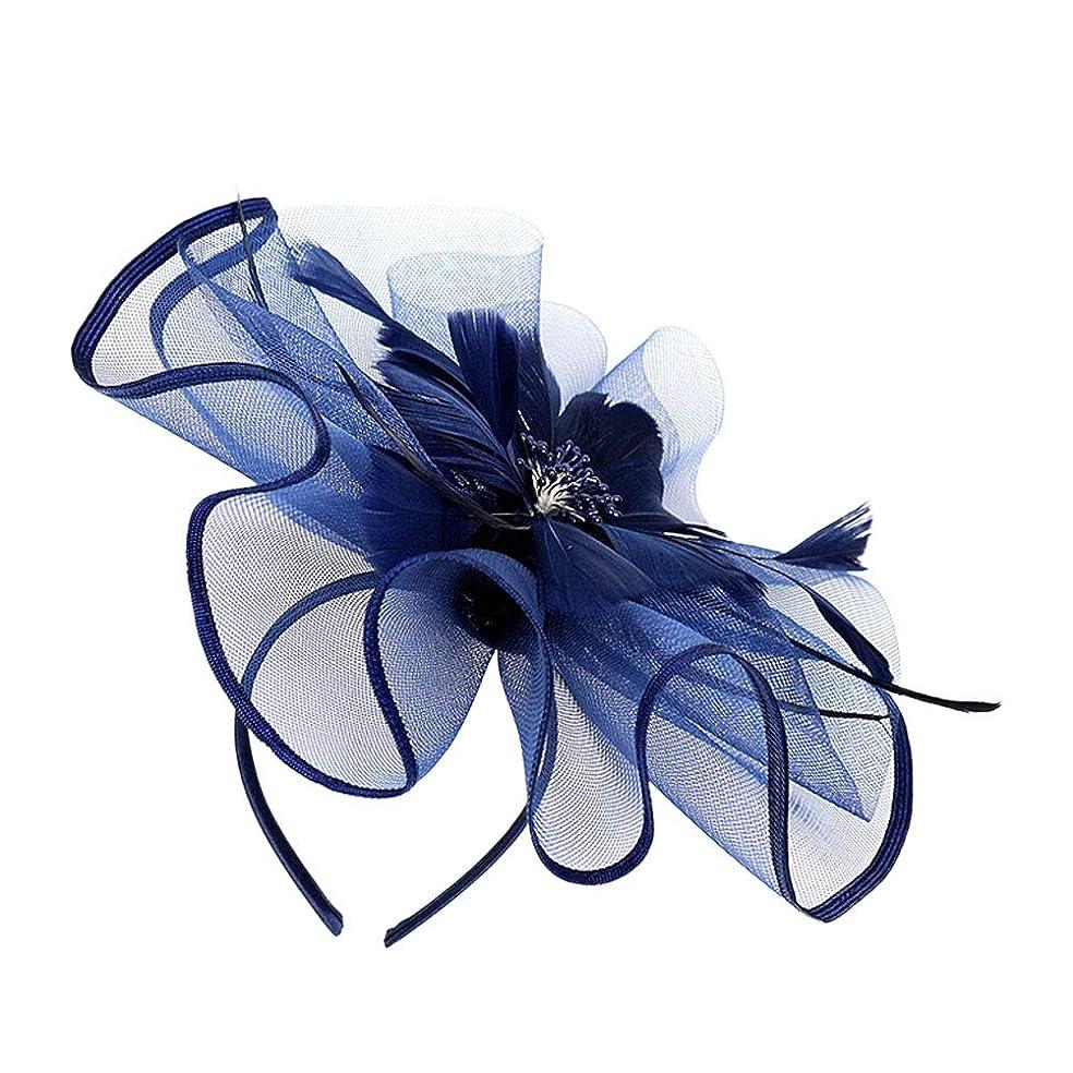 しなやか隣人シティLURROSE 花メッシュフェザーハットクリップ魅惑的な帽子メッシュフラワーヘアクリップヘッドバンドダービーウェディングティーパーティーヘッドウェア(ネイビー)