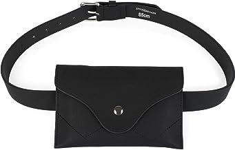 styleBREAKER riñonera de Mujer en óptica de Cuero con Cierre de botón a presión, Bolso para la Cadera 02012257, tamaño:95cm, Color:Negro