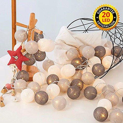 ELINKUME LED luces de hadas con 20 bolas de algodón,blanco cálido,Con pilas,Luces de la decoración de la linterna del 3.3M para el día de fiesta de la boda del partido del balcón,tonos fríos