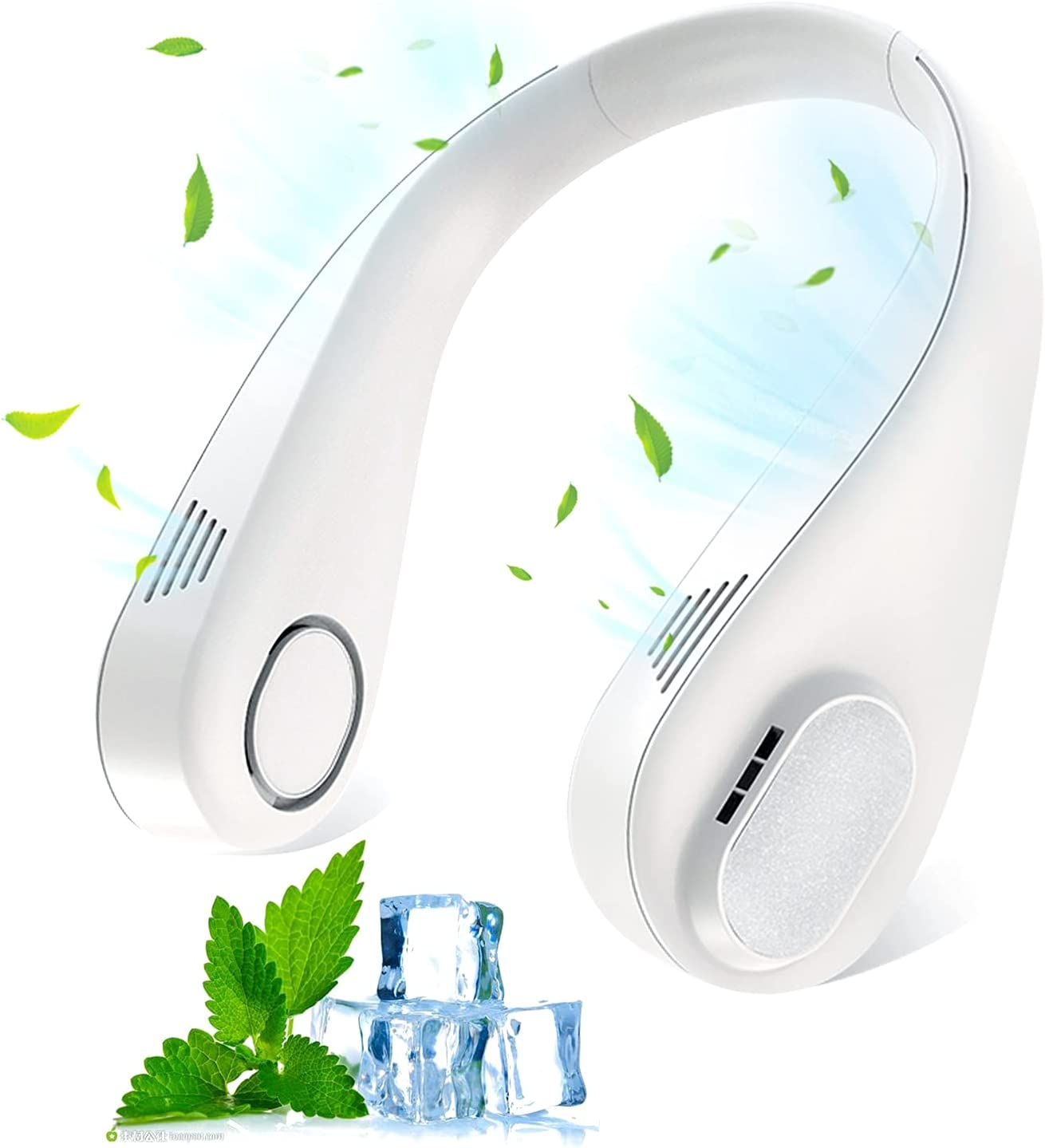 Portable Neck Fan, Hands Free Wearable Cooling fan, USB Rechargeable, Personal Fan for Office, 3 Speeds Strong Air Flow, 360° Adjustable Headphone Design, Hanging Fan for Outdoor Sports, Travel, Home